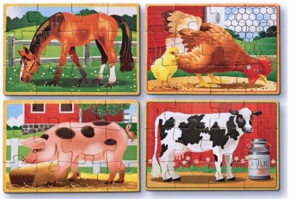 sestavljanke s čepki MELISSA AND DOUG Komplet 4 sestavljank, domače živali, Melissa and Doug 13793