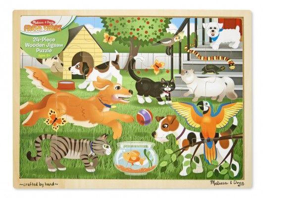 druge sestavljanke MELISSA AND DOUG Lesena sestavljanka Živali pri igri, Melissa in Doug, 19059