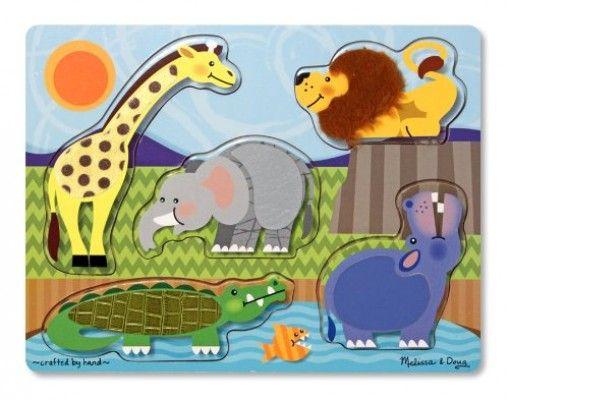 zvočne MELISSA AND DOUG SENZORIČNA SESTAVLJANKA - živalski vrt, Melissa & Doug, 14328
