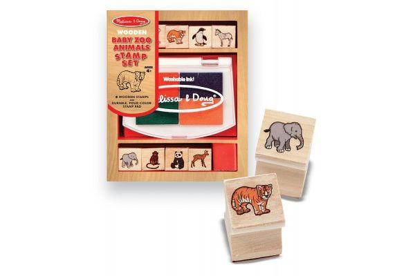 ustvarjalni material MELISSA AND DOUG Komplet lesenih štampiljk divje živali, Melissa and Doug 11638