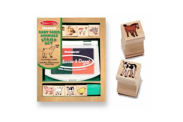 ustvarjalni material MELISSA AND DOUG Komplet lesenih štampiljk domače živali, Melissa and Doug 11639