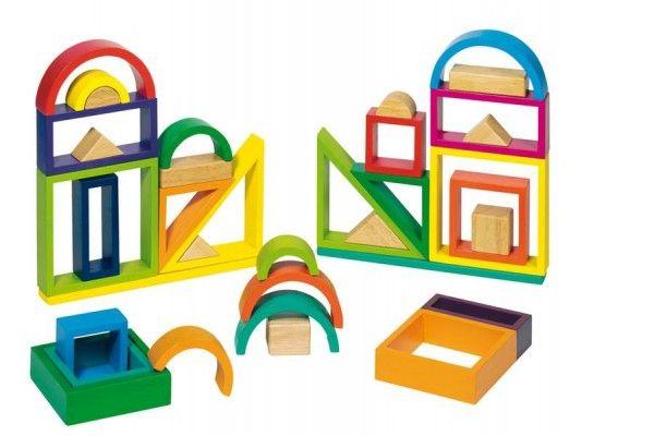 KOCKE GOKI Sestavljanka mavrični oboki, trikotniki in okna, goki 58655