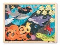 sestavljanke MELISSA AND DOUG Lesena sestavljanka, morske živali, 24 kos, Melissa and Doug 19072
