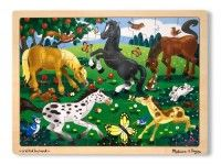 sestavljanke MELISSA AND DOUG Lesena sestavljanka konji, 48 kos, Melissa in Doug 13801